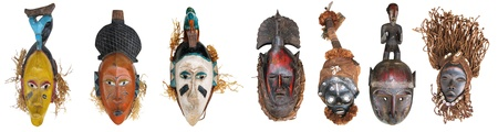 The original African masks, made the traditional way Stock Photo