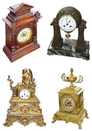 orologi antichi: Antichi orologi da tavolo color oro Archivio Fotografico