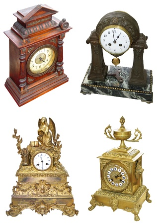 Antique gold colored table clocks photo