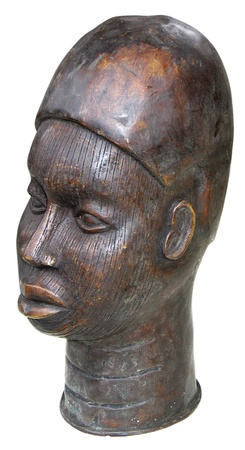 Original wooden sculpture of African heads photo