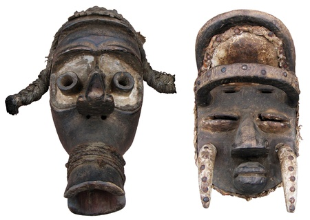 africa antique: Traditional African masks and sculpture of the head Stock Photo