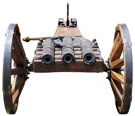 gunnery: Replica of an old cannon with three tubes Stock Photo