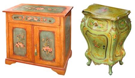 Antichi dipinti a mano armadi in legno Archivio Fotografico