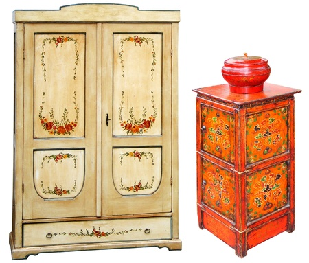 hand painted: Antique hand painted wooden cabinets