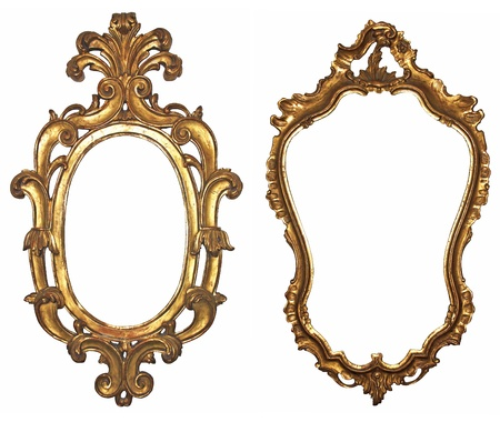 espelho: Arma��es de madeira douradas velhas para espelhos