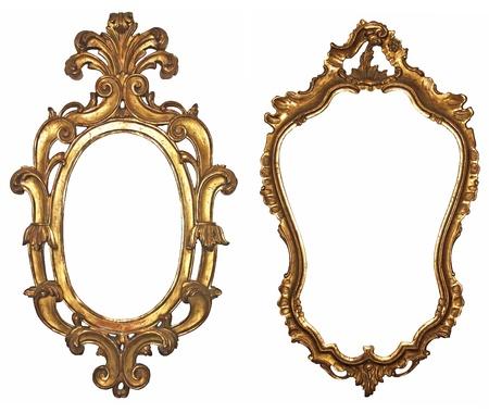 spiegelbeeld: Oude vergulde houten frames voor spiegels Stockfoto