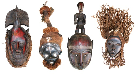 tribal mask: The original African masks, made the traditional way Stock Photo