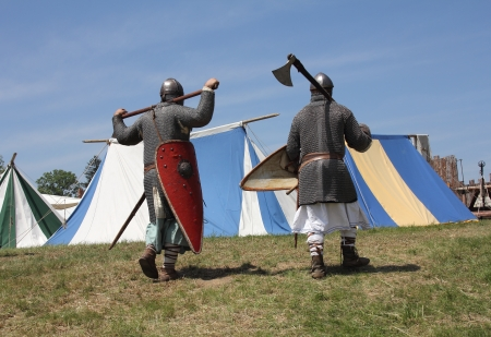 woodscape: Medieval warriors go into the tent