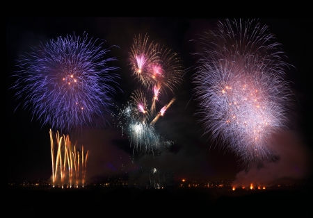 Fireworks Night at the summer sky photo