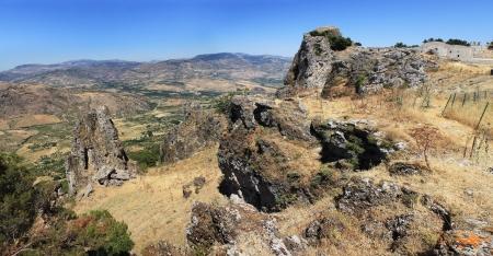 caltabellotta: Caltabellotta,  Sicily, Italy,  Panoramic view of the valley Stock Photo