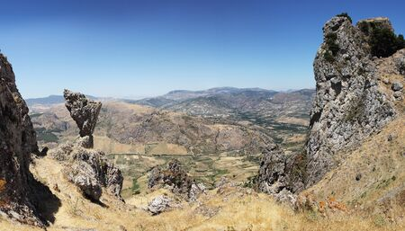 horison: Caltabellotta,  Sicily, Italy,  Panoramic view of the valley Stock Photo