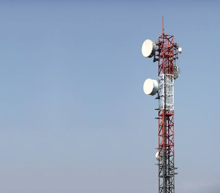 A variety of antennas for mobile devices on steel construction photo