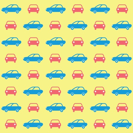 Cheerful colorful cars wallpaper on a yellow background Vector