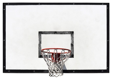 high school basketball: Basketball backboard on the school basketball court isolated on white background  Stock Photo