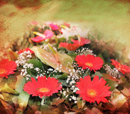 colorize: Abstract floral background with a bouquet of red  flowers