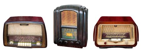 vintage radio: Three vintage wooden radio casing, isolated on white background