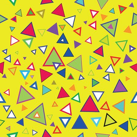 exotic car: Cheerful colorful  seamless vector triangles wallpaper on a yellow background Illustration