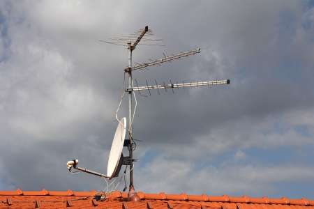 Antennas  to receive TV signals on the roof photo
