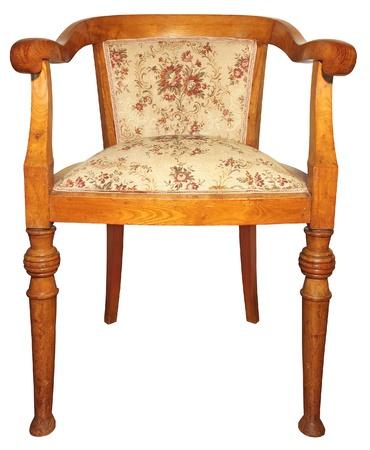 muebles antiguos: Antigua silla de madera muy cómodo aislado en el fondo blanco