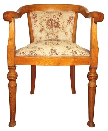 antique furniture: Old wooden very comfortable chair isolated on white background  Stock Photo