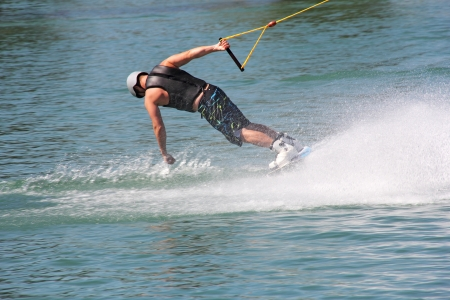 slalom: Water skiing lake, summer an exciting adventure for young people