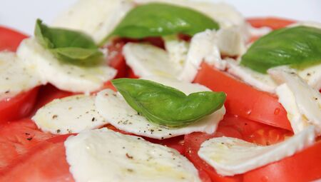 Fresh and tasty tomatoes, basil, mozzarella and olive oil photo