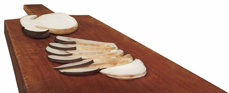 edulis: Sliced  young  autumn boletus on a wooden cutting boards Stock Photo
