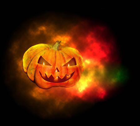 cucurbit: Halloween pumpkin lighted candles glow in the dark