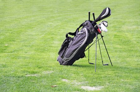 Black golf bag on green grass as a background Stock Photo - 15901075