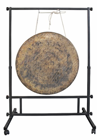 chinese drum: Gong on white background one of Traditional Asian music instrument