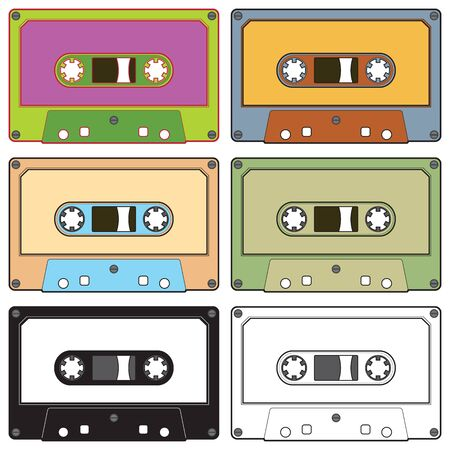 dubbing: Realistic illustration of colorful radio cassettes tapes