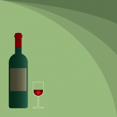 Wine bottle with a glass on green background Stock Vector - 16237768