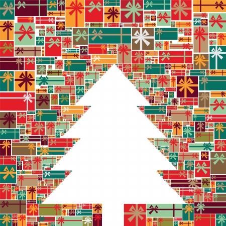Illustrazione albero di Natale fatto di tanti doni colorati