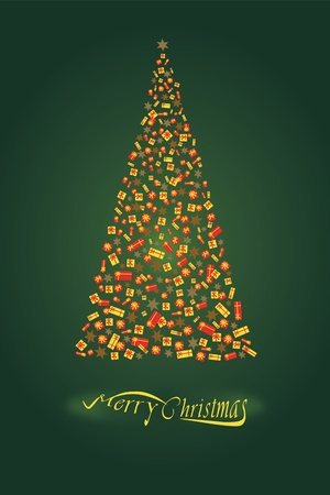 Christmas tree illustration of many colorful gifts on a green background Vector
