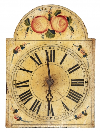 cuckoo: Very old hand painted wooden clock isolated on white background Stock Photo
