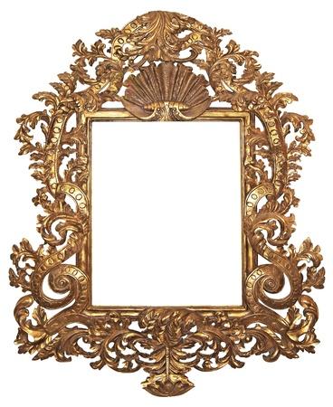 Vecchia cornice dorata di legno per specchi