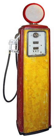 Old red yellow gas pump isolated on a white background photo