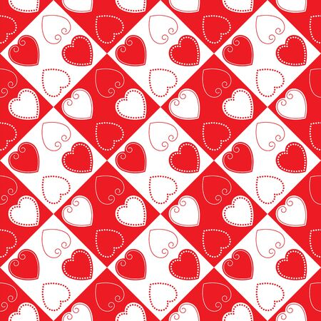 Red and white heart as a seamless pattern and background Vector