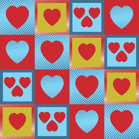 Multicolour vintage hearts as a seamless pattern and background Vector