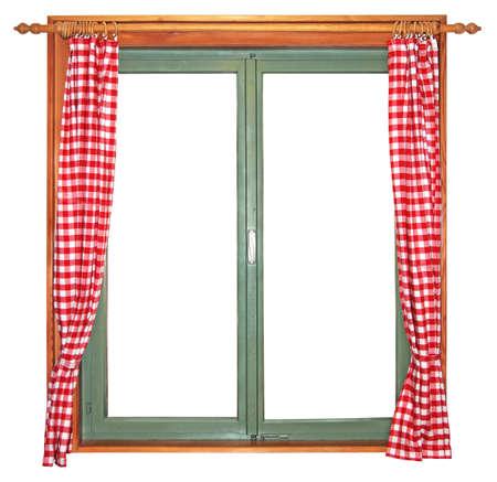 Ventana de madera verde con cortinas rojas y blancas, aisladas sobre fondo blanco Foto de archivo - 17670372