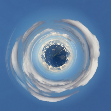 The snow-capped mountains as a planet floating in the sky area Stock Photo - 17670378