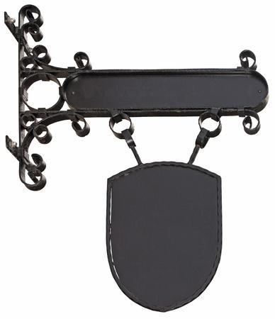 Blank, black shop sign wrought iron isolated on white background Stock Photo - 17670387