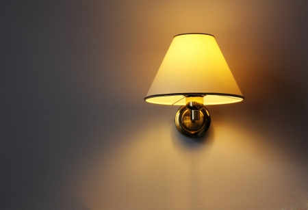 Wall lamp with yellow shade from canvas
