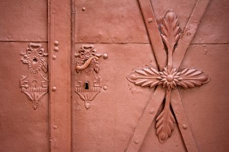 Door handles and locks on old iron  brown door Stock Photo - 17810026