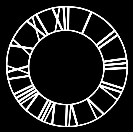 numeros romanos: El dial de reloj de la iglesia vieja aislado sobre fondo negro