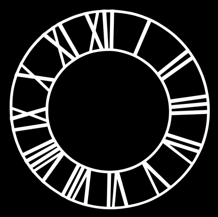 numerals: The old church clock dial isolated on black background
