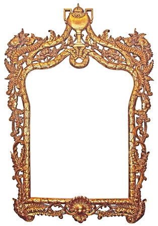 Old gilded wooden frame for mirrors photo