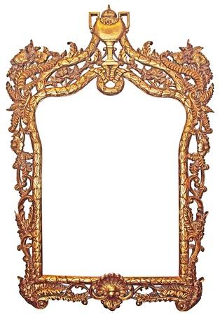 gild: Vecchia cornice dorata di legno per specchi