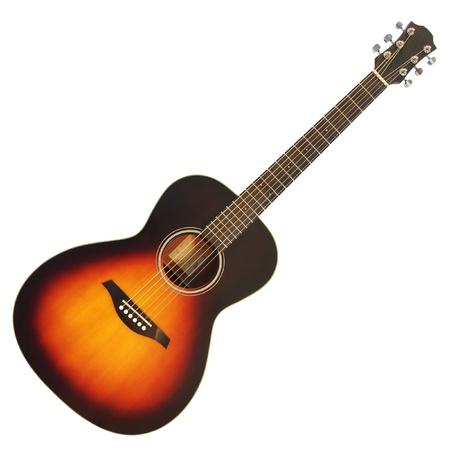 흰색 배경에 고립 된 갈색 나무 어쿠스틱 기타
