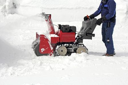雪、雪機で動作します。 写真素材